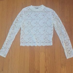 Tops - Long sleeve sheer lace, cropped shirt. Large